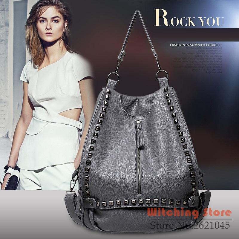 ФОТО backpack P1Perfect# 2016 new European rivet washed leather   shoulder bag FREE SHIPPING
