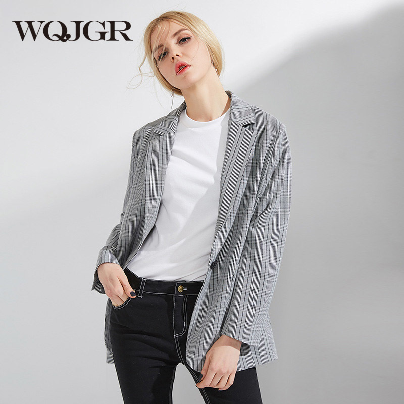 WQJGR 2018 Autumn And Winter Fashion Lattice Suit Loose Woman Restore Ancient Ways Comfortable Suit Woman