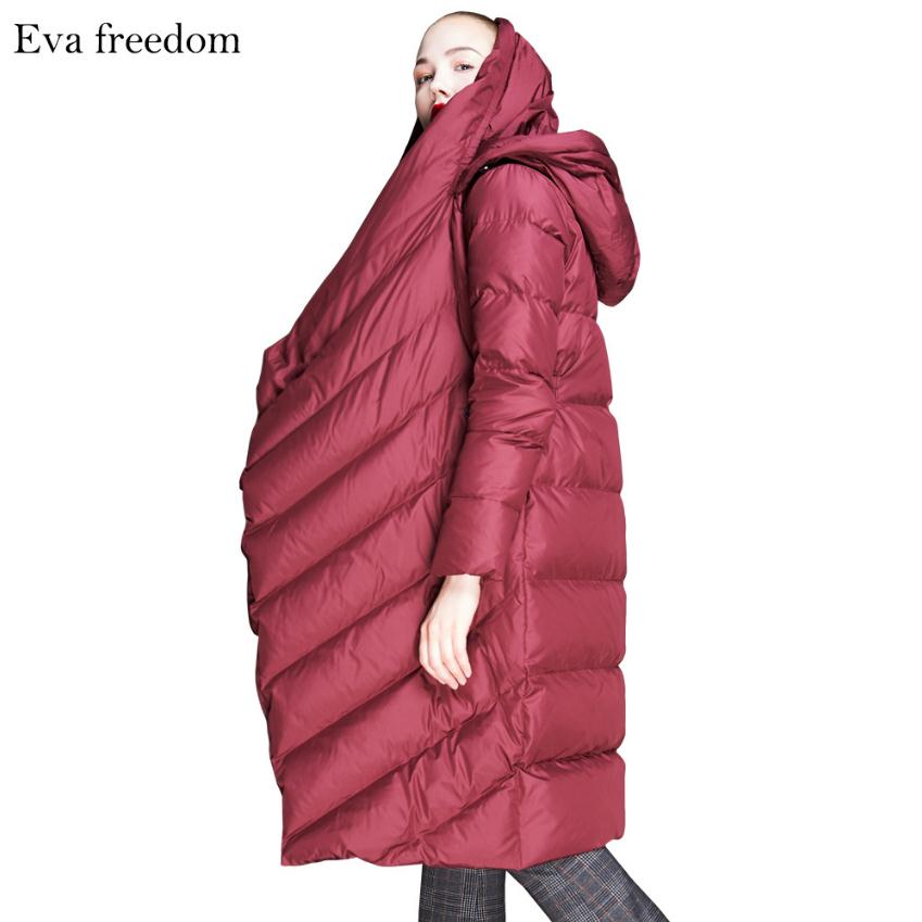 2019 new fashion brand 90% duck   down   thicker warm parkas   coat   female winter plus size high collar hooded warm jacket wj2689