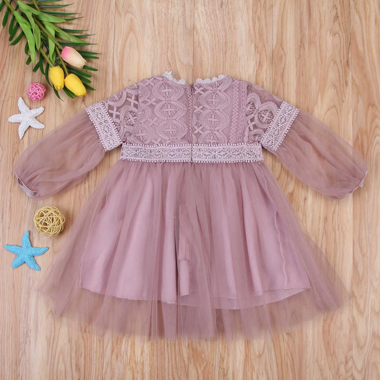 9d08887d6 ... Mesh Tutu Dress Gray/Pink Baby Girls Long Sleeve Kids Hot Tulle Party  Wedding Dress ...