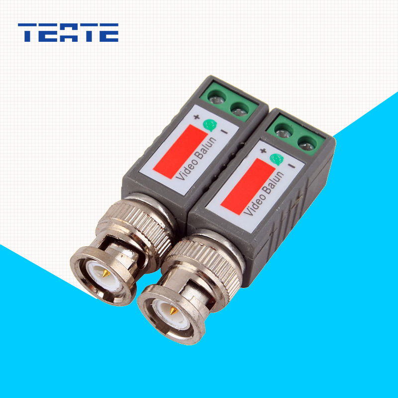 TEATE Surveillance System Passive BNC Video Balun to UTP Transceiver Connector with 2X Coax CAT5  for Camera System TE-G07CAB hkes 2pcs lot mini coax bnc connector utp video balun connector bnc plug dc adapter for cctv surveillance camera cctv system
