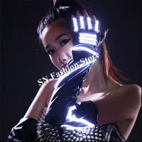 HN04 LED lights ballroom dance gloves illuminated luminous dancing gloves lighting event party wears for costumes dress show