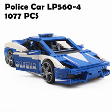 1077 шт. Yile 008 Творческая серия Lamborghini Police Car Gallardo LP560-4 Racing Car Set Строительные блоки Кирпичи Игрушки 8214