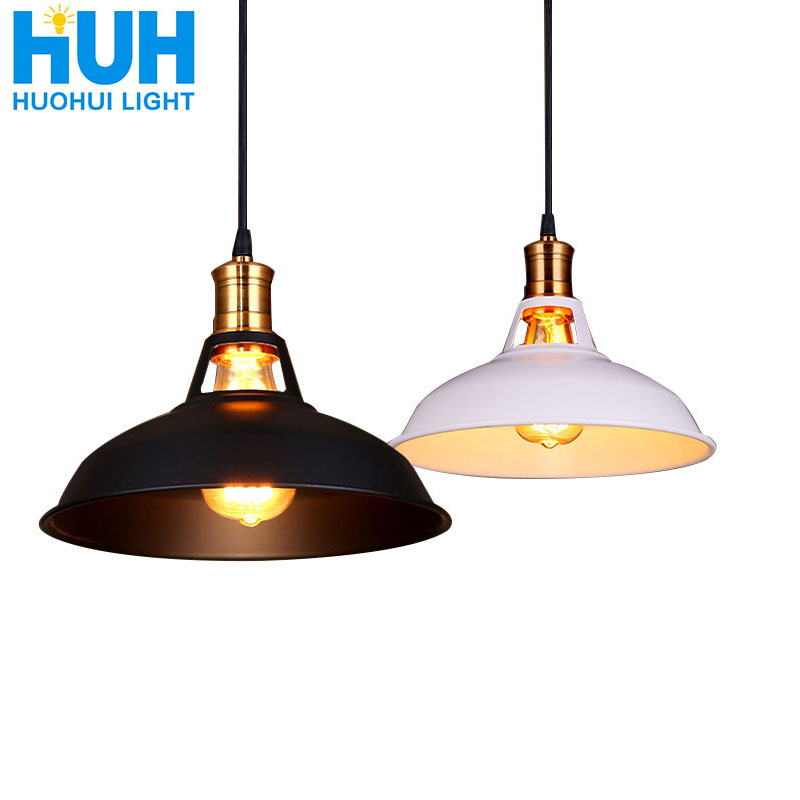 Industrial Vintage Iron Pendant Lamp Dia 27cm Edison LED Bulb Restaurant/Bar/Coffee/Bed Room Retro American Iron Pendant Lamp