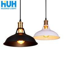 Lámpara colgante de hierro Industrial Vintage, 27cm de diámetro, Bombilla Edison LED, restaurante/Bar/café/habitación, Retro americano, lámpara colgante de hierro