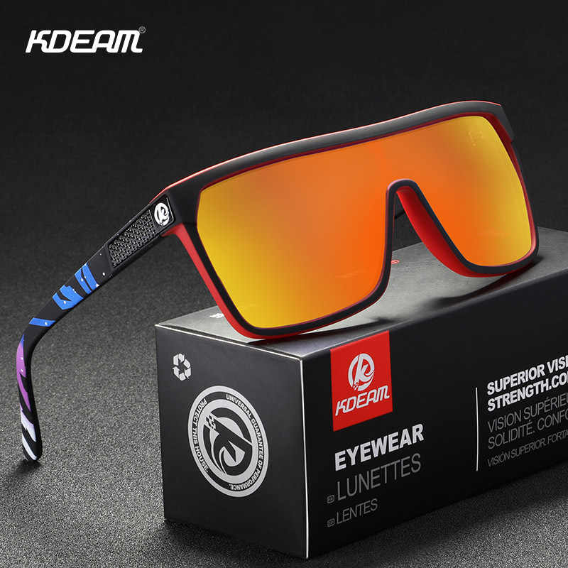 KDEAM Polarized Sunglasses Men Colorful Coating Sport Driving Large Goggle Frame Sun Glasses Male UV400 Gafas De Sol KD803