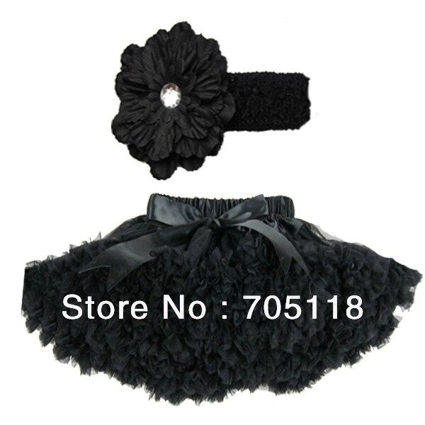 Black Chiffon Pettiskirt,Girls pettiskirt tutus,Petti skirt with a headband Free shipping