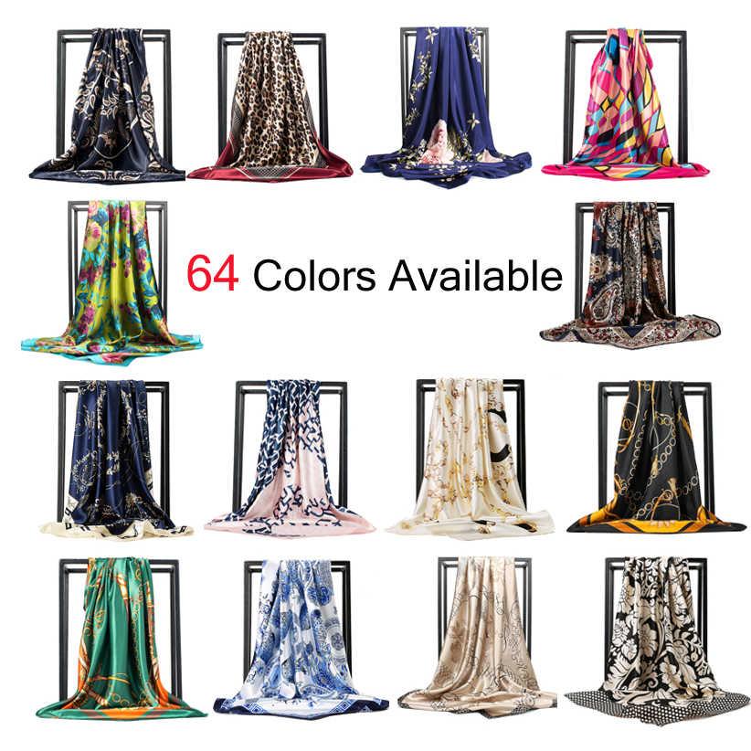 O CHUANG Silk Schal Mode Foulard Satin Schal Schals Große Größe 90*90cm Platz silk Haar/Kopf schals Frauen bandana