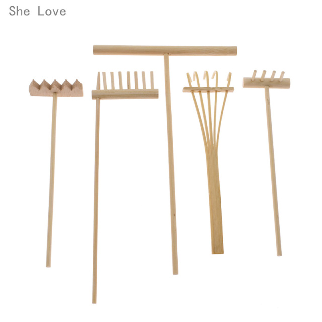 She Love 5pcs Bamboo Zen Garden Rake Meditation Tools Home Decor Relaxation Handcrafted