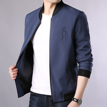 купить Simple and elegant, famous brand rib hem men's jacket Slim-fit collar casual straight hem floral long-sleeved jacket men онлайн