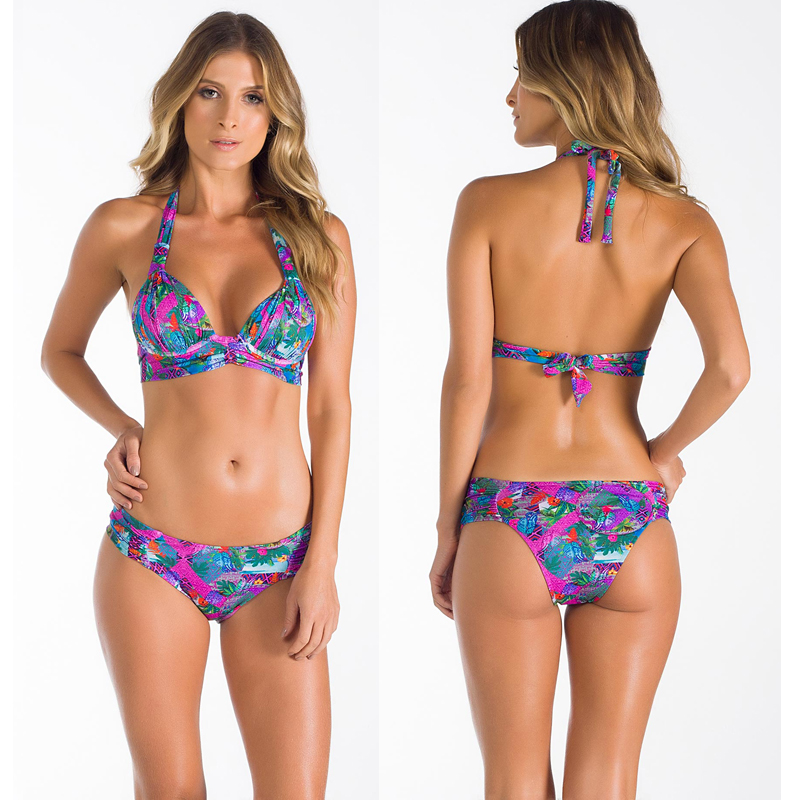 все цены на Flower Print Bikini Summer Bathing Suit Brazilian Biquini Sexy Bikinis Set 2018 Vintage Retro Swimsuit Bandage Swimwear Women