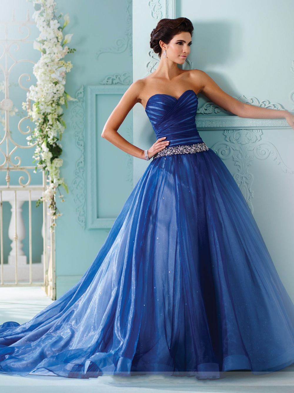 royal blue blushing pink colorful ball gown wedding dresses with color 2017 vestidos de novia beaded belt non white bridal gowns