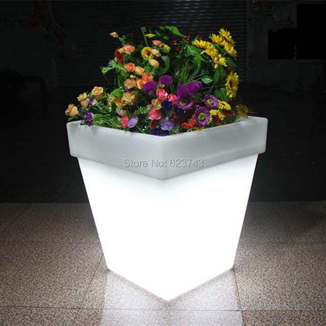 Free envio gratuito de cores mutáveis de luz led vaso bandeja vaso de flores ao ar livre indoor iluminado y luz do flash luminoso plantpot