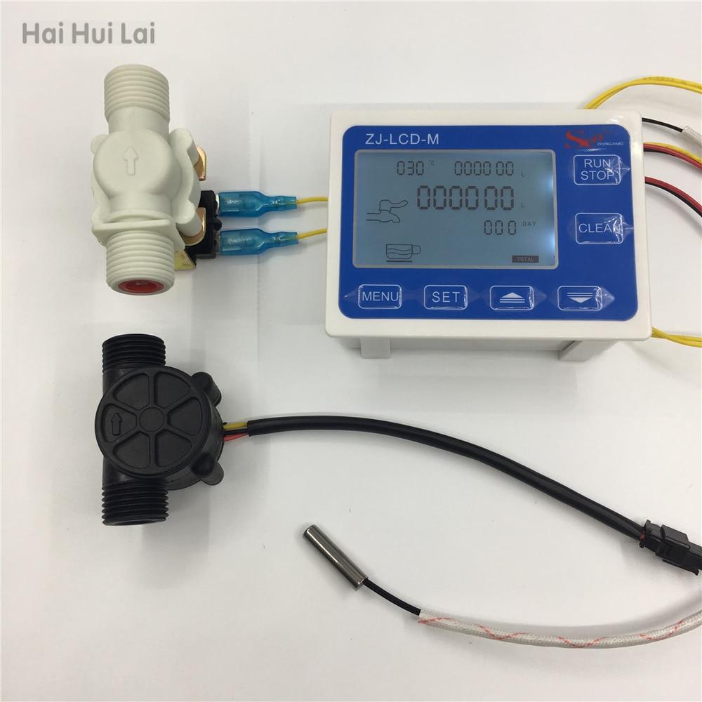 ZJ LCD M flow meter controller temperature sensor 1 2 flow sensor LCD Display for water