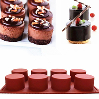 1 Pc 8 Holes Round Shape Silicone Cake Mold 3D Handmade Cupcake Jelly Pudding Cookie Mini