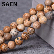 SAEN Natural Stone Beads Picture Jaspers Round stone Beads 4-12mm Loose Beads for Jewelry Making Charm Accessories Free Shipping