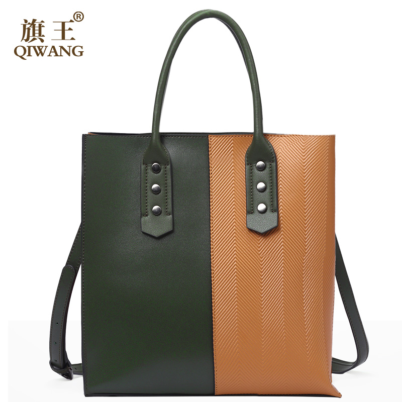 Qiwang Large Green Women Bag Geometric Handbag 2018 Top Handles Tote Bags Brand Design Leather Women's Bag qiwang real genuine green leather women handbag suede green fashion tote bags elegant ladies luxury bag for women large