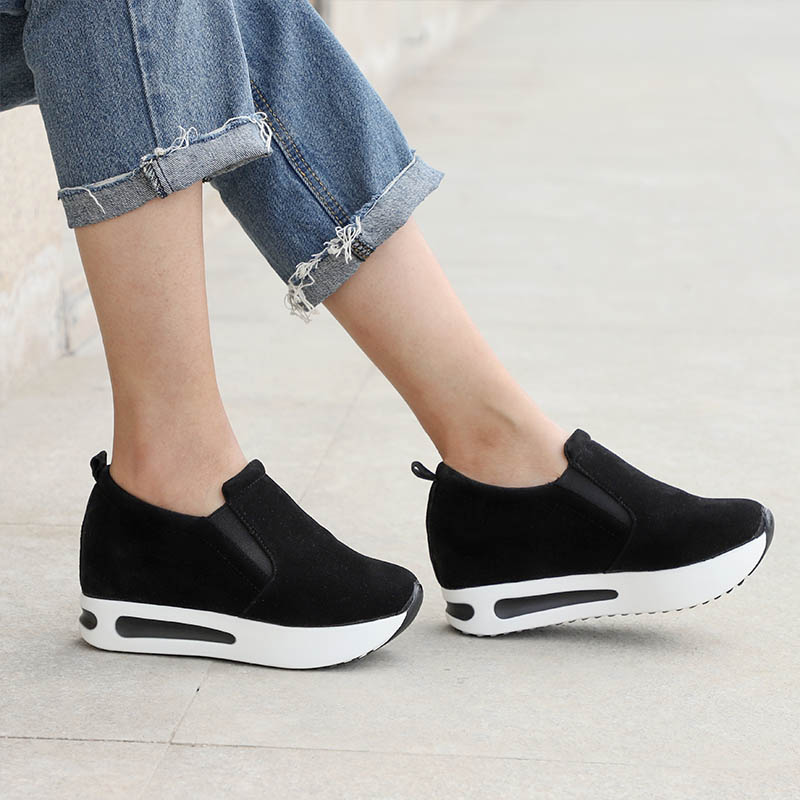 2019 Women Vulcanized Shoes Casual Wedge Platform Elastic Band Spring Autumn Increasing Shoes Ladies Sneakers Female Drop Shop