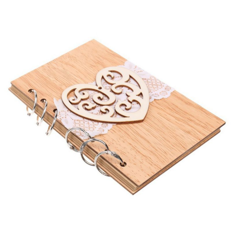2018 New Hot Wedding Guest Signature Books Couple Wooden Notebook Vintage Lasercut Wood Journal Wedding Decoration