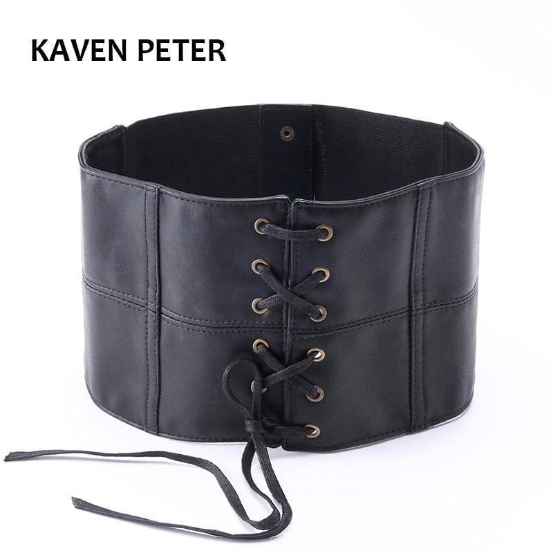 Cummerbunds Fashion Elegant Women Belt Soft Faux Leather Wide Belt  Waistband Belts for Lady Dress Accessories Black Wide Belts
