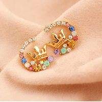 10 pairs/lot Women Stud Earrings Gold Hollow Crystal Crown Earring Colorful Rhinestone Cubic Zirconia Charm Jewelry Accessories