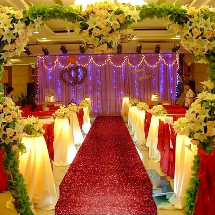 Shiny Red Wedding Decor Pearlescent Carpet Aisle Runner