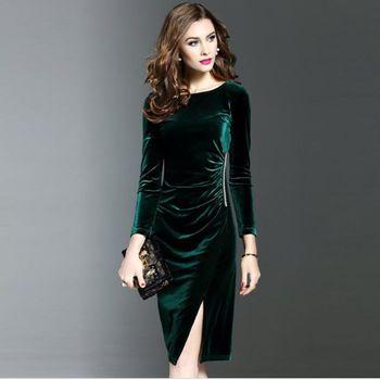 Vestidos de terciopelo verde elegantes de talla grande para Otoño e Invierno para mujer, Vestidos de fiesta informales a la moda, Vestidos femeninos AC464