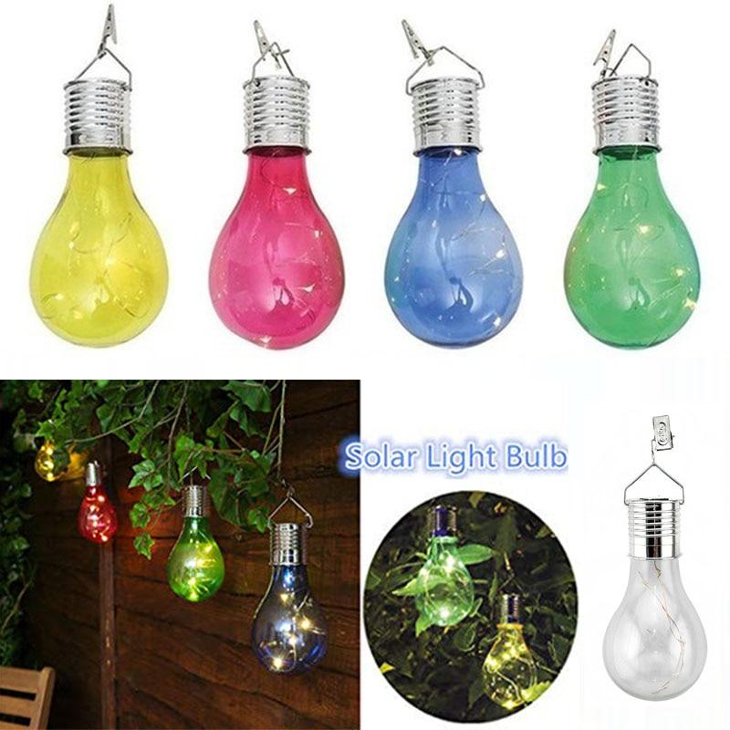Portable Hanging LED Solar Light Bulb Lamp Outdoor Waterproof Garden Light Holiday Party Lights Home Bar Wedding Decoration
