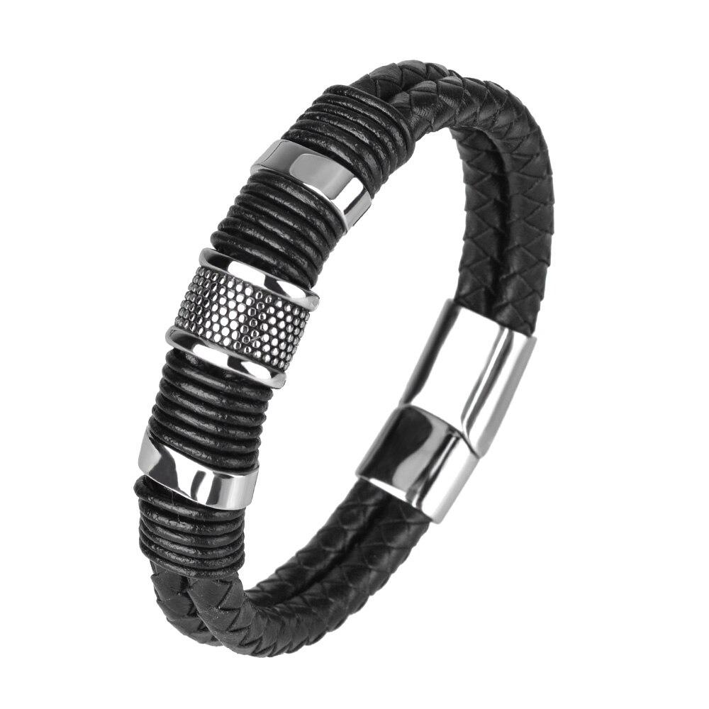 Kirykle nouvelle mode noir tresse Bracelet en cuir tissé titane Bracelet en acier inoxydable hommes Bracelet hommes bijoux cadeau Vintage 2