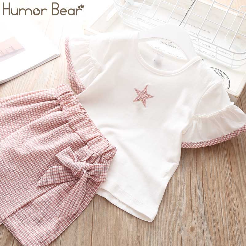 638f88031 Humor Bear Baby Girl Clothes Suit 2019 Brand NEW Summer Star Printing  toddler girl clothes T-shirt Tops+Waistband Pantskirt 2-6Y