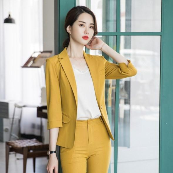 2019 été noir jaune rose pantalon costumes pour femmes trois quarts manches Blazer deux pièces ensemble pantalon costume femmes travail pantalon