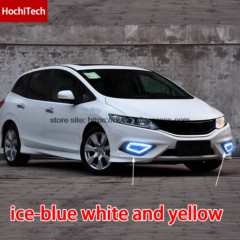 High quality 3 colors white yellow ice blue LED Car DRL Daytime running lights fog light with yellow turn signal for honda jade 2pcs waterproof white and yellow car headlight cob led daytime running lights drl fog lights with turn signal light in russia