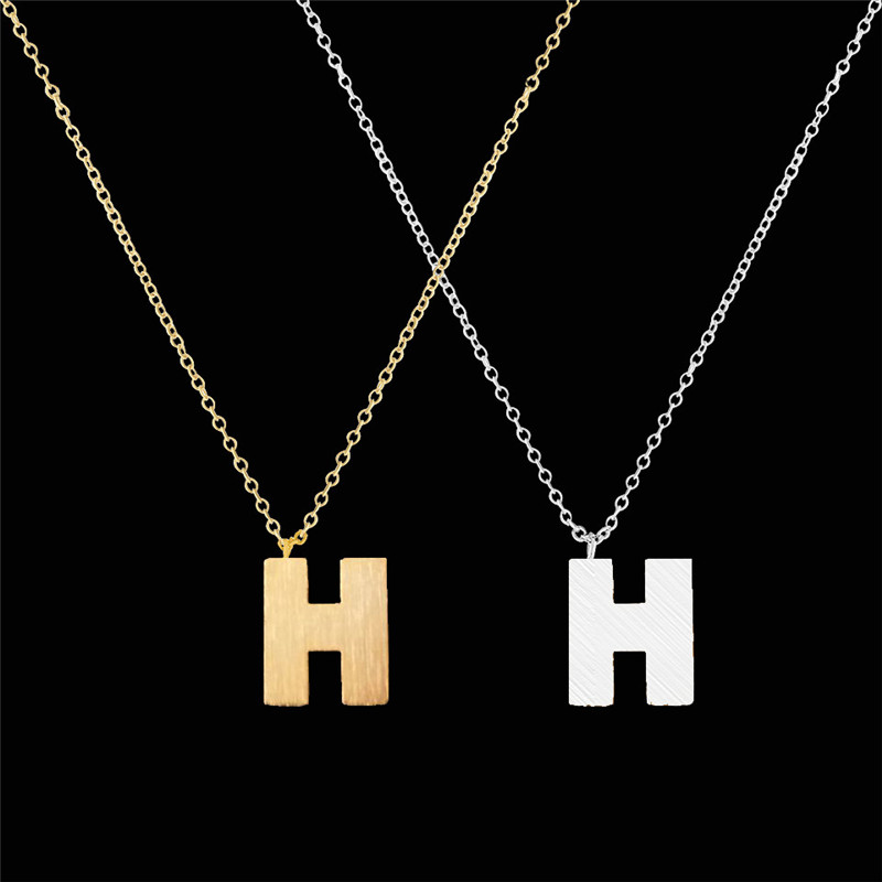 Fashion Stainless Steel Silver Initial Necklace H Letters Charm Word  Pendant Necklace Jewelry H Necklaces For
