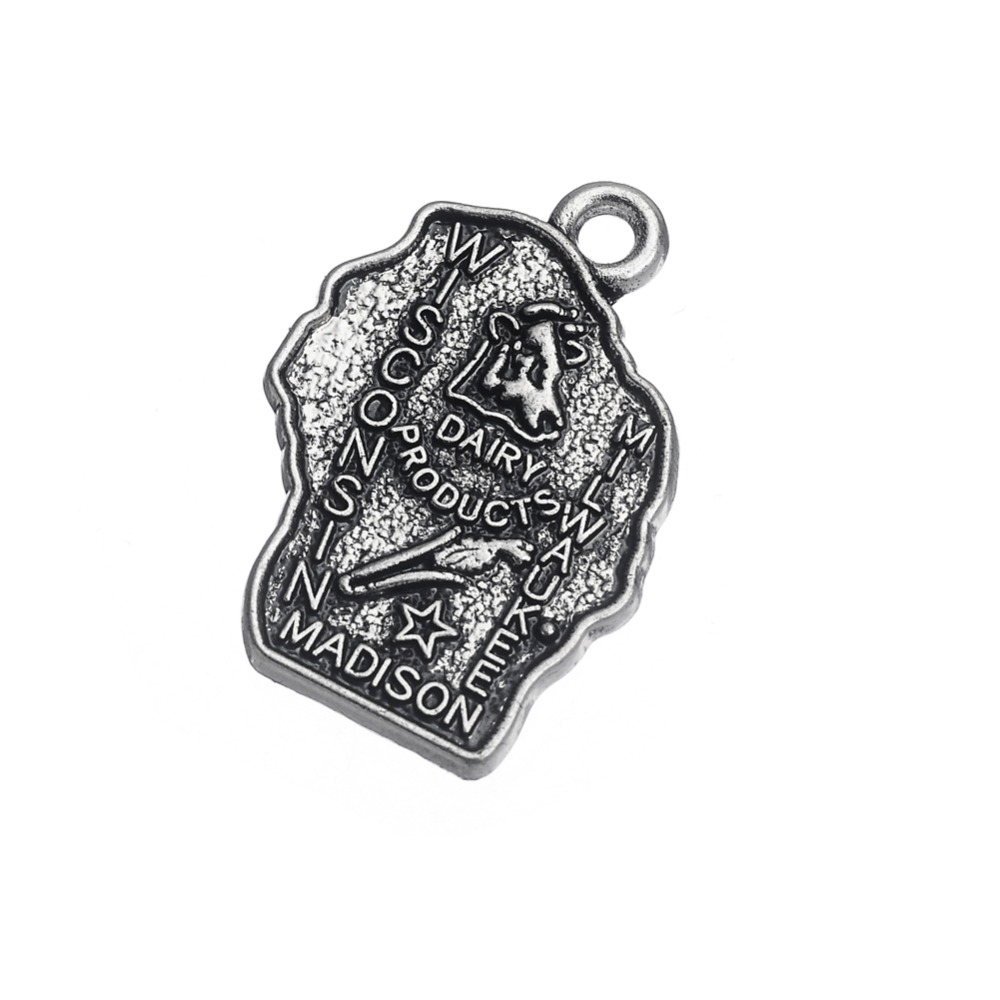 my shape Antique Silver Plated American State Map Wisconsin Madison Charms Diy Pendant Wholesale 40pcs a lot