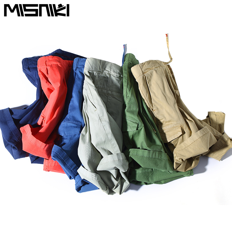 misniki 2018 new arrivals fashion summer men cargo shorts solid color Elastic male short trousers M-3XL CYG349