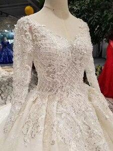 Image 5 - LSS486 vestidos de novia de alta calidad real tren largo cuello pico manga larga brillante vestido de novia 2020 nuevo diseño de moda