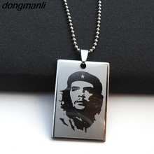 P869 Dongmanli Jewelry Ernesto Che Guevara Necklace World famous Series Stainless Steel Dog Tag Pendant Beaded Chain Classic(China)