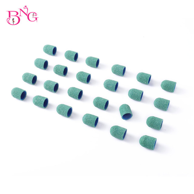 BNG 10/20pcs 13*19 Sanding Block Cap Professional Pedicure Foot Care Tool Purple Green Sanding Band Electric Nail Art 80/120/180 2