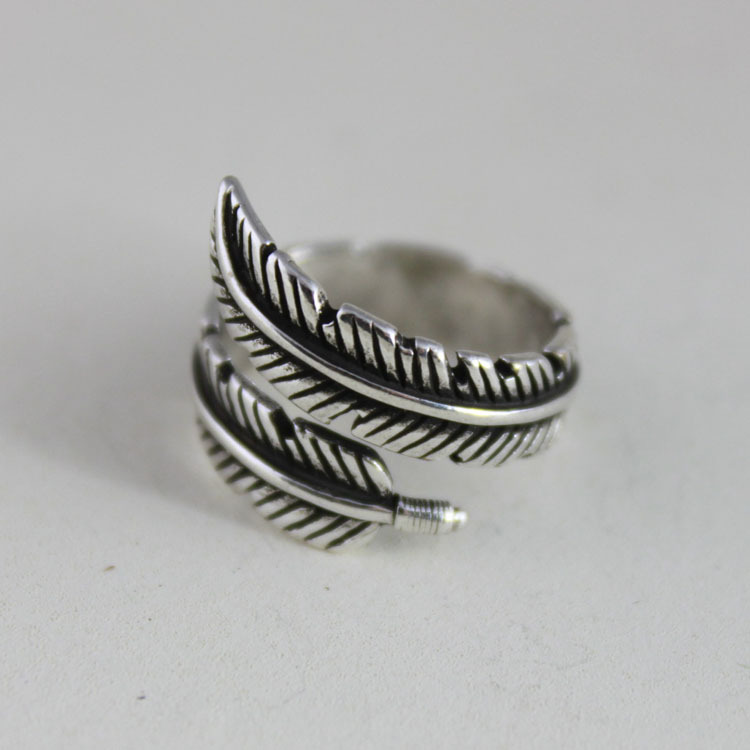 Retro New Arrival 925 Sterling Silver Feather Rings For