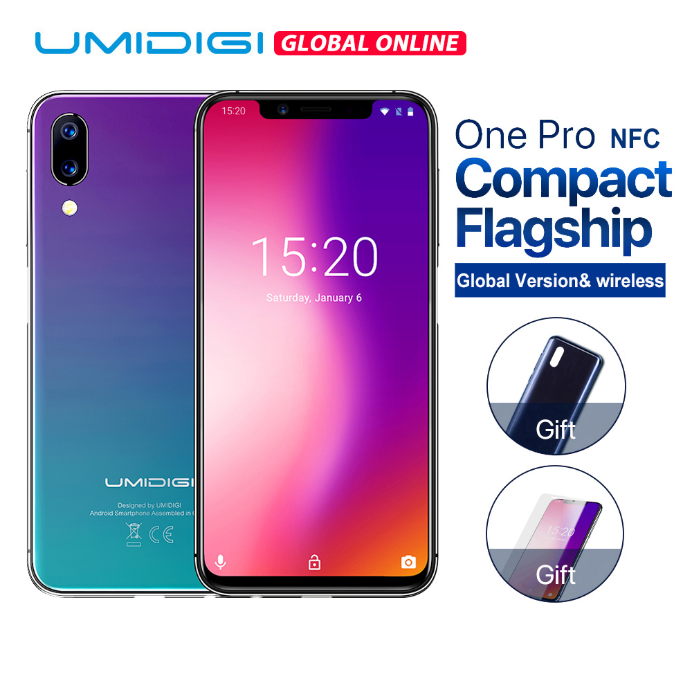 """UMIDIGI One Pro Global Version 5.9"""" 12MP+5MP Dual 4G mobile phone wireless charge 4GB 64GB P23 Octa Core smartphone with NFC Fun"""