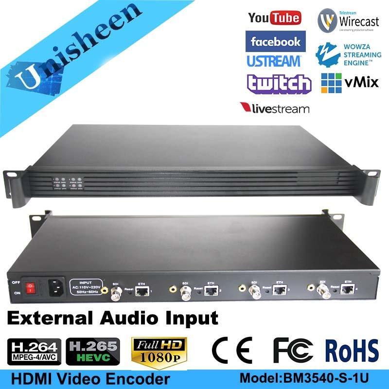 H.265 HEVC MPEG-4 AVC/H.264 4in1 HD SDI Video Encoder HDMI Transmitter live Broadcast encoder H264 encoder