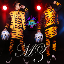 2016 fashion Original Korean male singer male DJ  right tiger gold print suits pants shirt costumes clothing set