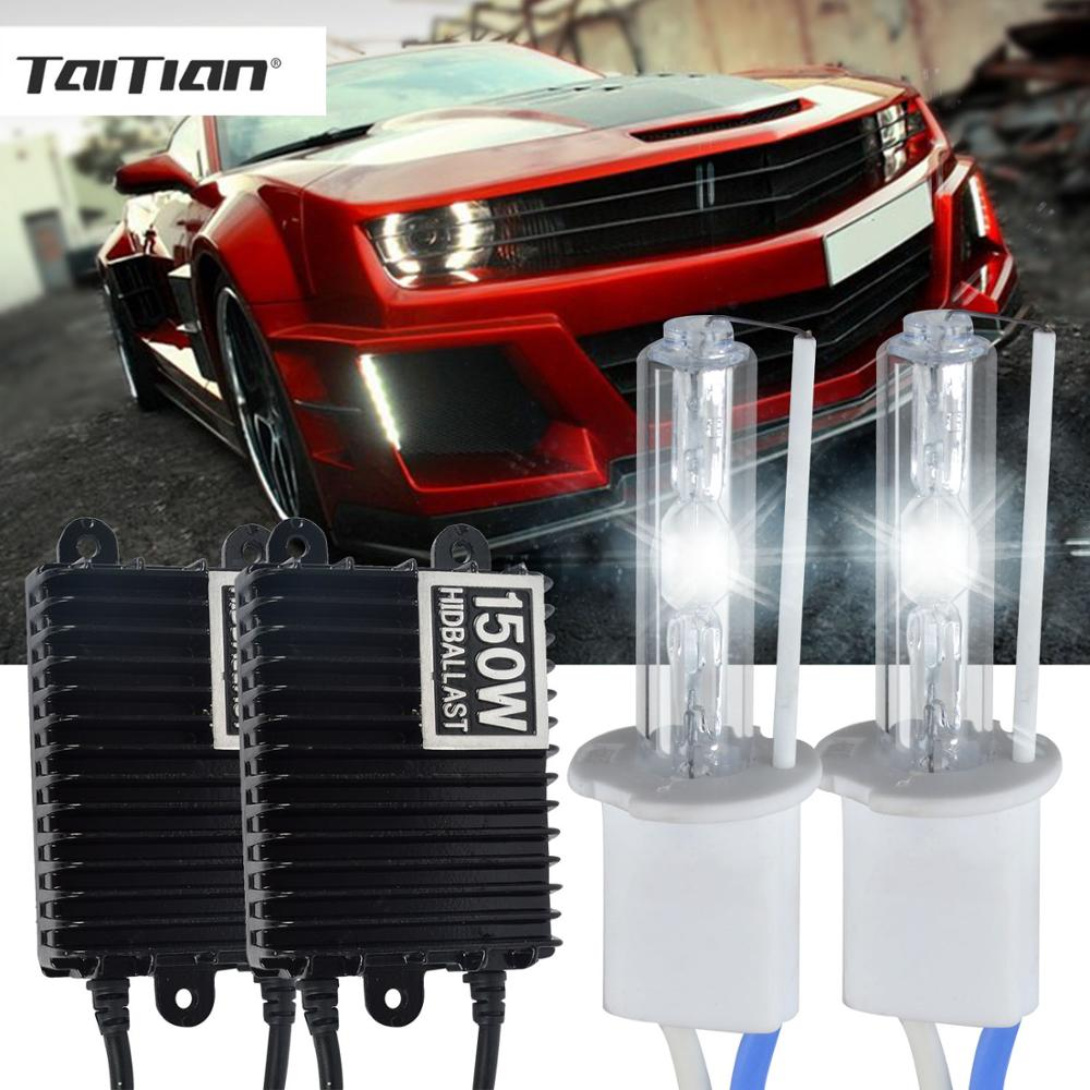 Taitian 2Pcs 12V 150W Xenon Kit ballast H1 headlight h4 hi lo super white H7 car light bulb H8 H11 fog light 9005 HB3 9006 HB4