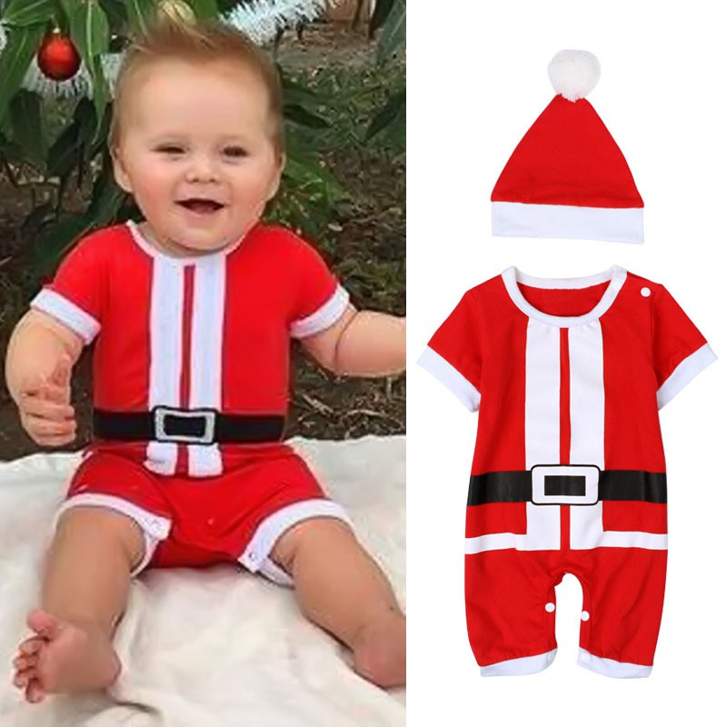 fdb980674 For Toddler Infant Boys Short Sleeve Jumpsuit +Hat Santa Costume Baby  Clothing Christmas Baby Clothes Set Red Cute Baby Rompers-in Rompers from  Mother ...