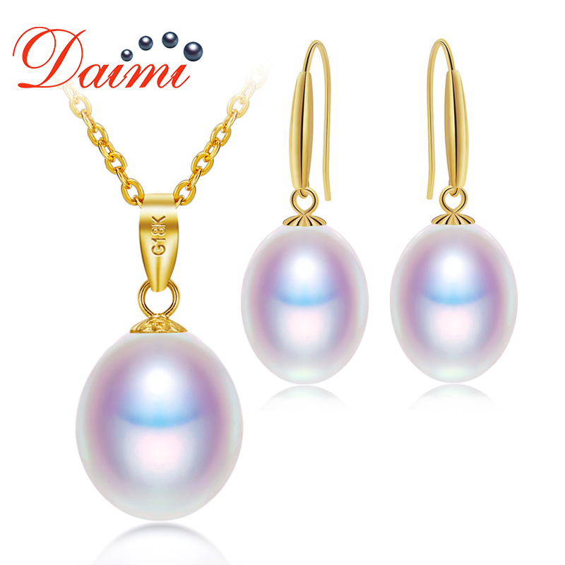 DAIMI 18K Gold Jewelry Set 8-9mm Necklace Pendant Earrings Set Fine Jewelry Gift For Woman
