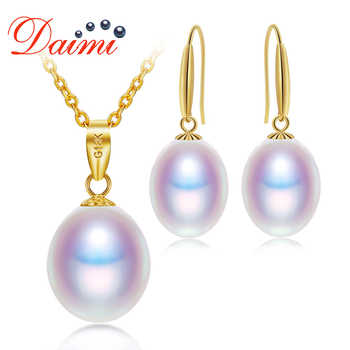 DAIMI 18K Gold Jewelry Set 8-9mm Necklace Pendant Earrings Set Fine Jewelry Gift For Woman - DISCOUNT ITEM  45% OFF All Category