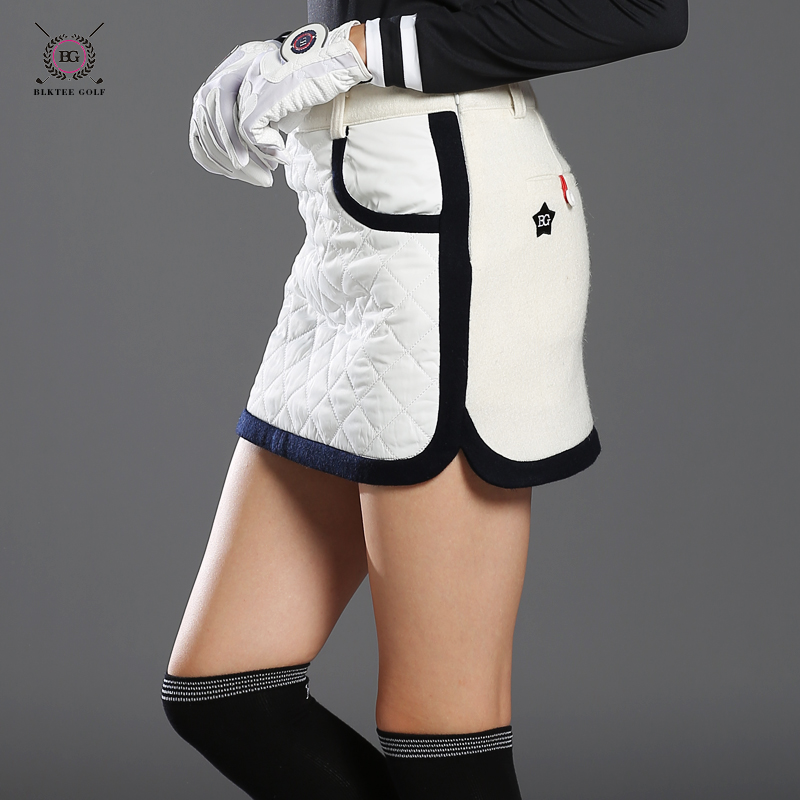 BLKTEE new Golf winter skirts wool thicken thermal short skirt autumn sportswear white navy stripped bright 2 colors S~XL lady blktee new golf winter skirts wool thicken thermal short skirt autumn sportswear white navy stripped bright 2 colors s xl lady