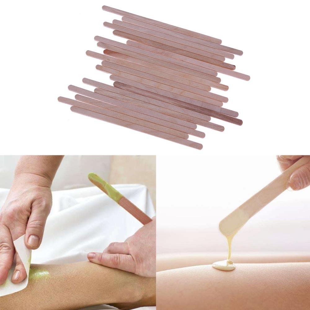 20pcs Wooden Body Hair Removal Sticks Wax Disposable Wooden Tongue Depressor Sticks For Hair Removal Facial Mask Sticks