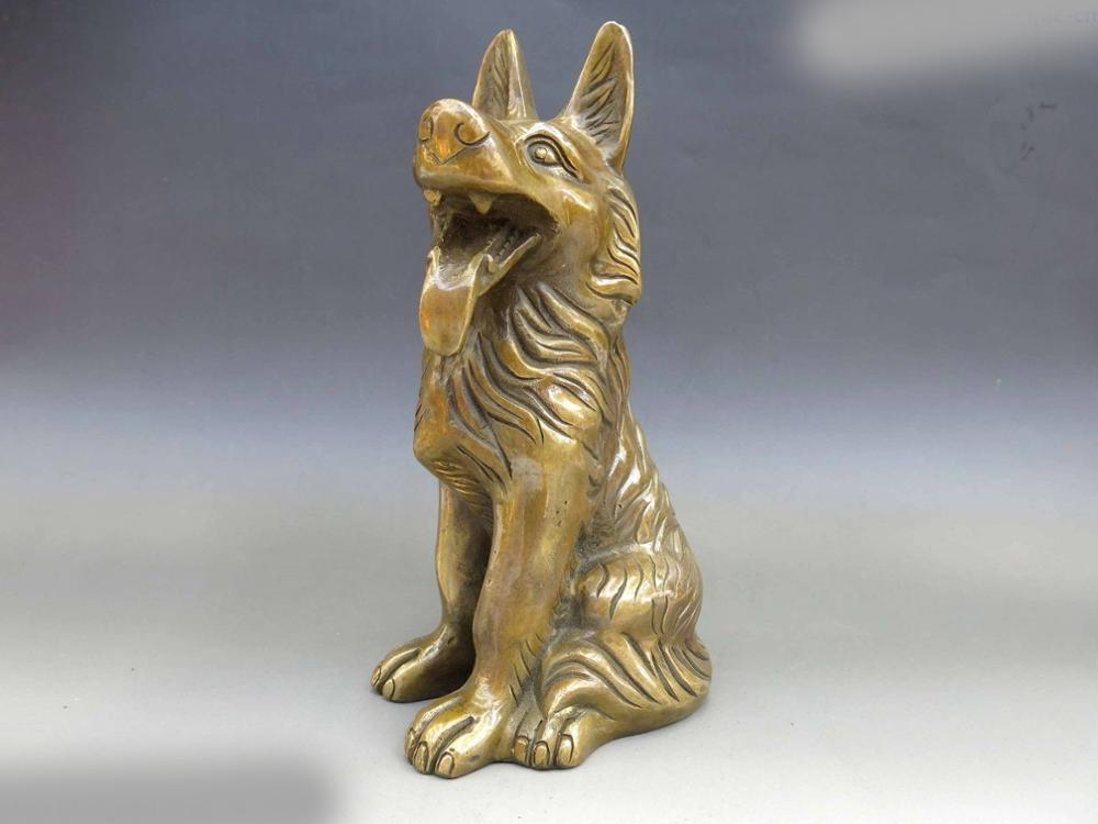DS China Feng Shui Brass copper carved fine Guard Dog Sculpture Statue|statue sculpture|statue china|statue dog - title=