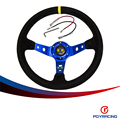 PQY SRACING-Синий руль ID = 14 дюймов 350 мм OMP Deep Кукуруза Дрифтинг Руль/Замша кожа рули PQY-SW21B